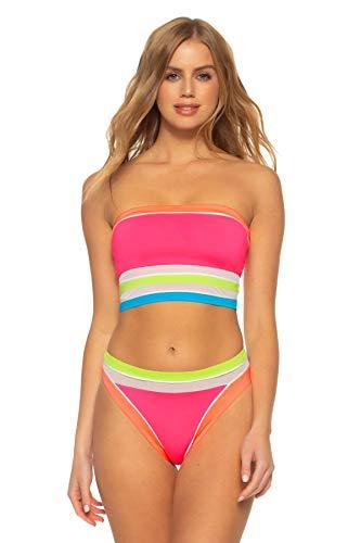 Soluna Women's Longliner Neon Color Block Bikini Top Multi M