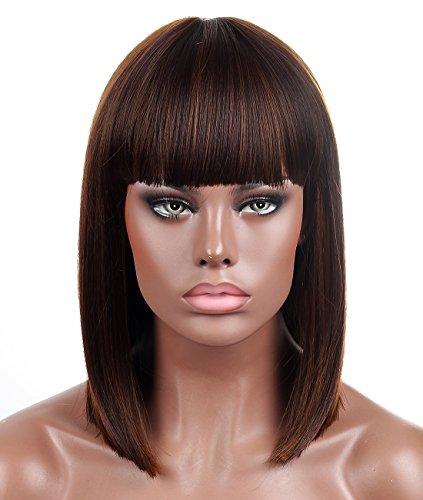 Kalyss stumpf Bob kurzes Haar Perücken für Frauen hitzebeständiges Yaki synthetisches Haar braune Haarsträhnen weibliche Perücke mit Pony(braun)