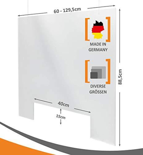 MyMaxxi   Deckenhänger Spuckschutz 60x90cm glasklar 3mm Stärke   Ladentheke   Schutz Wand hängend   Acryl Spuckschutz   Spritzschutz   mit Ausschnitt für Theken   Spuckschutz