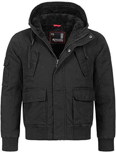 A. Salvarini warme Herren Designer Winter Jacke Teddyfell gefüttert Winterjacke [AS-139-Schwarz-Gr.L]