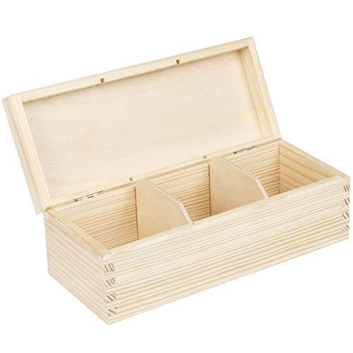 Caja de té de madera natural 9