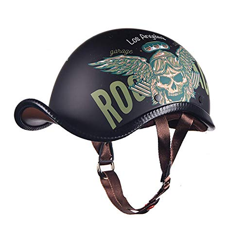 ACEMIC Casco retro abierto, para motocicleta de adulto, medio casco de seguridad, para hombres y mujeres, cuatro estaciones de la motocicleta, aprobación DOT/ECE C, L = 57 ~ 58 cm