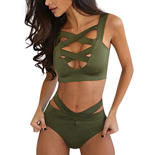 TOPKEAL Damen Push up Bikini-Sets Frauen Push Up Verband Gepolsterte Zweiteilige Badeanzug Bikini Set Bademode Swimsuits Mit Tangas (Grün, Small)