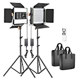 Neewer 2 Packs Advanced 2.4G 480 LED Video Light Photography Lighting Kit, Dimmable Bi-Col...
