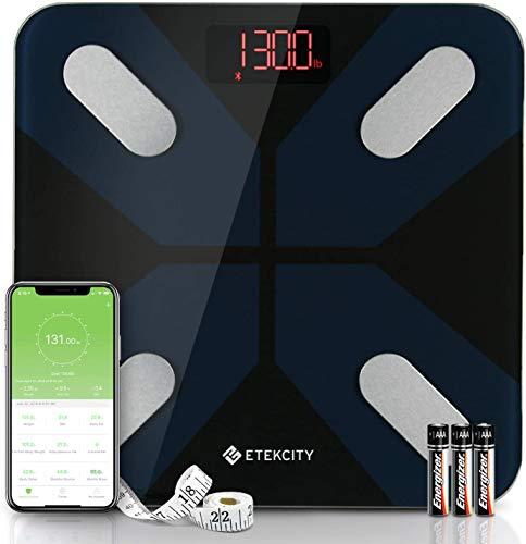 Etekcity Bluetooth Körperfettwaage, Personenwaage, Smart Digitale Waage, Körperanalysewaage mit Intelligenten APP für Körpergewicht, Fett, BMI, Muskelmasse, 28st/180kg/400lb, Schwarz