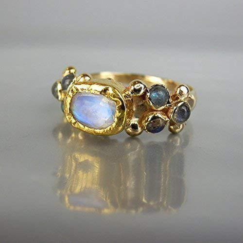 Unique 14k 22k Solid Yellow Gold Rainbow Moonstone and Labradorite Engagement Ring 22k Gold Fancy Ring