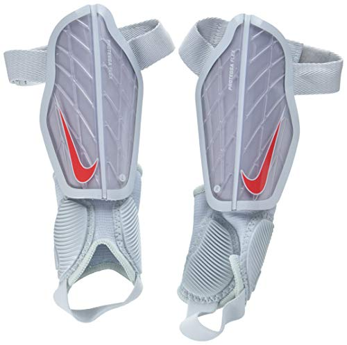 Nike Kinder Protegga Flex Guard Schienbeinschoner, Wolf Grey/Pure Platinum/Bright Crimson, L/140-150 cm