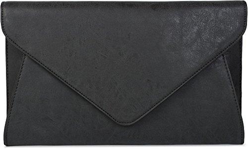 styleBREAKER Clutch Abendtasche im Envelope Kuvert Design mit Schulterriehmen und Trageschlaufe, Damen 02012087, Farbe:Schwarz
