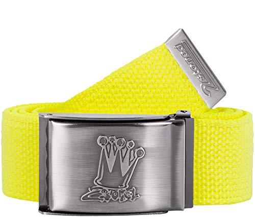 2Stoned Tresor-Gürtel Geldgürtel Neon-Gelb 4 cm breit, matte Schnalle Crown, Gürtel für Damen