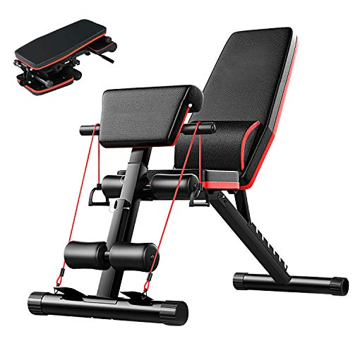 Weight Bench,Newest Adjustable Weight Bench for Home Gym,Seat/Back/Feet Adjustable,Roman Chair,Full Body Workout with Fast Folding,Folding Dumbbells Bench with Elastic Ropes,Strength Training Bench