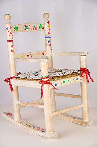 Mecedora infantil pintada a mano. Mecedora para niños personalizada. Mueble infantil de madera y...