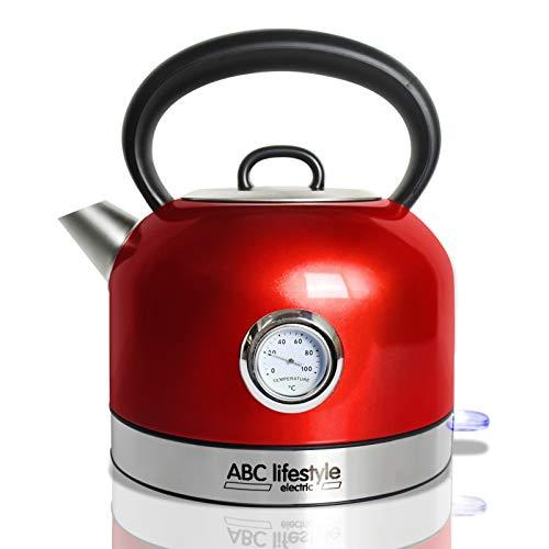 ABC Lifestyle - Hervidor de agua (acero inoxidable, con indicador de temperatura), diseno retro 1,7 Liter rojo
