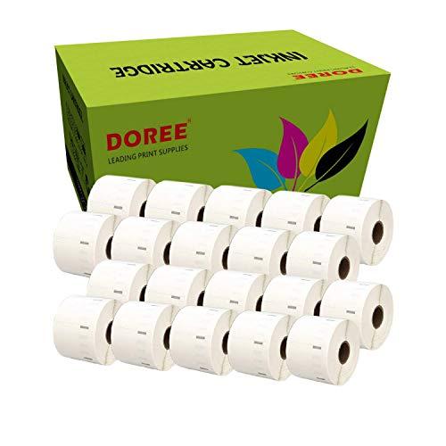 20 Rollen DOREE Thermoetiketten Rollen 57 x 32 mm, für Zebra GK420D, GX420D, GK420T Thermodruck, 1500 Etiketten pro Rolle, Kern 25 mm, Schwarz auf Weiß