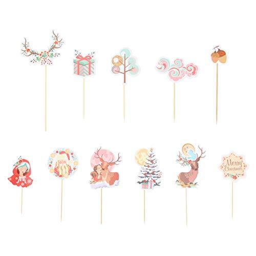 VALICLUD 33 Stück Cupcake Topper Weihnachten Papier Kuchen Topper Geburtstagsfeier Babyparty Kuchen Dekoration
