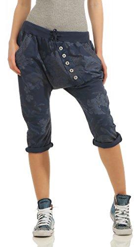 Mississhop Pantaloni Capri da donna, pantaloni da ballo, pantaloni estivi, con stampa floreale, 3/4, Blu scuro, Taglia Unica