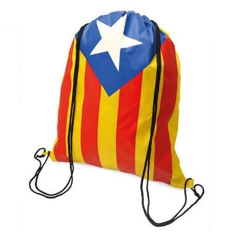 Mochila estelada catalana con cordones ajustable para poderla colgar - 43x37 cm.