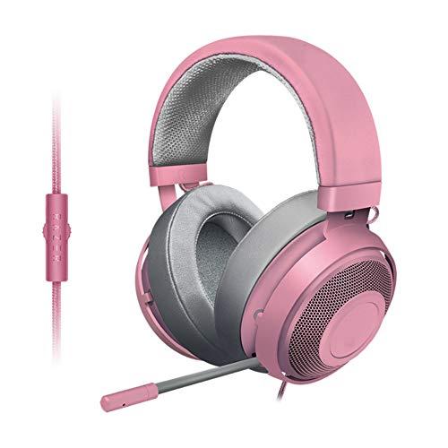 YYZLG Casque de jeu léger avec cadre en aluminium rétractable, microphone antibruit rose cristal mercure
