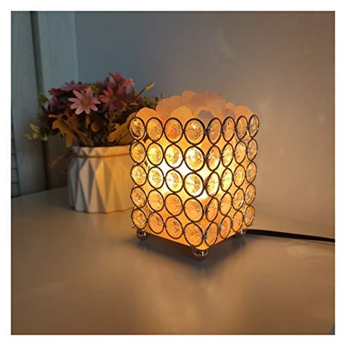 Lámpara de sal de cristal USB Himalaya lámpara de sal de sal de sal, purificador de aire con lámpara de canasta de metal retro y bulbo de la base de madera y salinas.