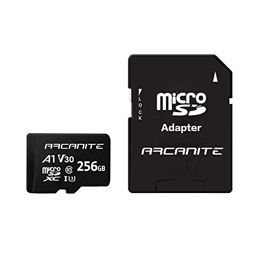 ARCANITE, 256 GB MicroSDXC scheda di memoria con adattatore SD, A1, UHS-I U3, V30, 4K, C10, Micro SD, Velocità di lettura fino a 90 MB/s