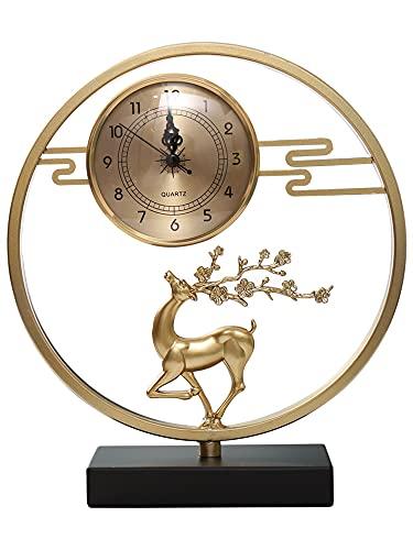XIALIMY Joyería Reloj de Escritorio de Estilo Chino Manos Simple Creativo de Lujo Arte Moderno Mesa de Metal Reloj Sala de Estar decoración de la casa (Color : Style4)
