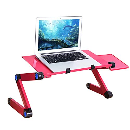 ZDiane Best Adjustable Laptop Cooling Stand and Lap Desk with Lengthen Dual Fan Cooler, Breakfast Tray for Eating, Floor Desk for Eating and Laptops Stand Lap Table, Rose Red,Rose red,Standard