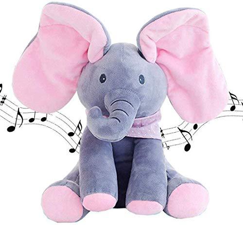 Goodbox Peek A Boo Elefant Stofftier Spielzeug Plüsch Elefant mit Singender Sprechender Plüschelefant Weichpuppe für Baby Kleinkinder
