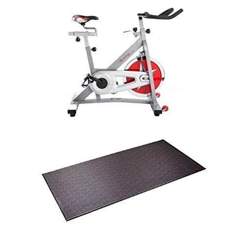 Sunny Health & Fitness Pro Indoor Cycling Bike and Supermats P.V.C. Mat Bundle