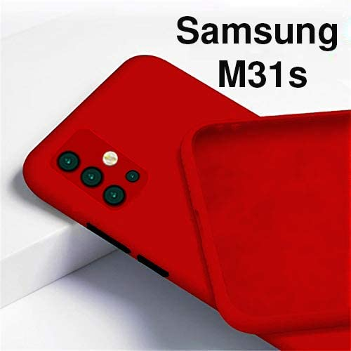 BRUSSEL Samsung Galaxy M31s Back Case Cover Soft Matt Finish Silicon Shockproof Back Case Cover Camera And Screen Protection Red