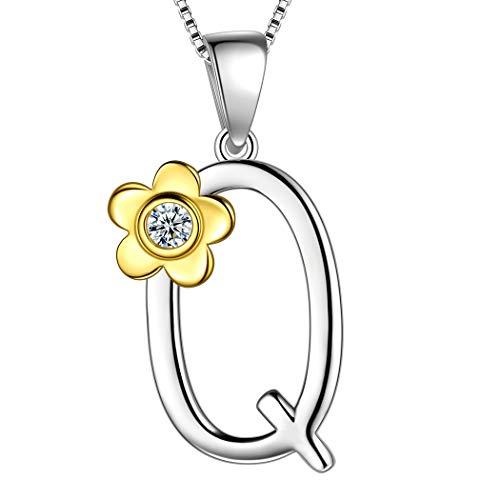 AuroraTears 925 Sterling Splitter Q Brief Halskette Vergoldet Blume Initiale Q Alphabet Anhänger mit Zirkonia Schmuck Geschenke für Frauen DP0141Q
