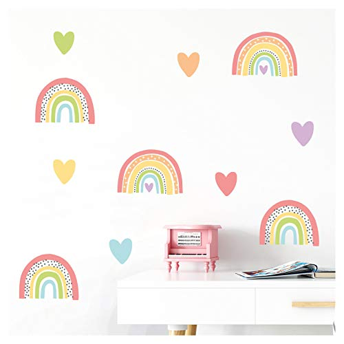 Little Deco Wandaufkleber mehrere Regenbogen mit Herzchen I Wandbild 112 x 81 cm (BxH) I Wandtattoo Mädchen Sticker Herz Kinderzimmer Deko Aufkleber Baby DL506
