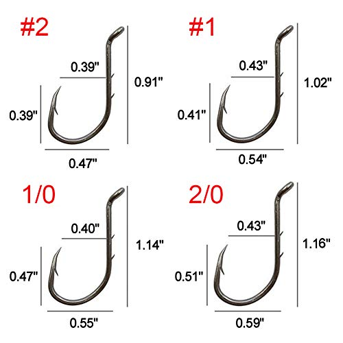 AGOOL Octopus Fishing Hooks - 50-150 pcs Barbed Fishing Hooks Jig Hook Extra Sharp Black High Carbon Steel Circle Hooks Baitholder Hook for Freshwater Saltwater Fishing Size: 8#-6/0