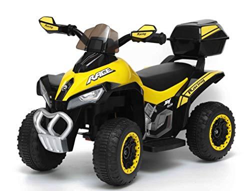TOYSCAR electronic way to drive Quad Elettrico per Bambini Racer Giallo con luci Suoni Mp3 Bauletto Marcia avanti Indietro e accellelratore