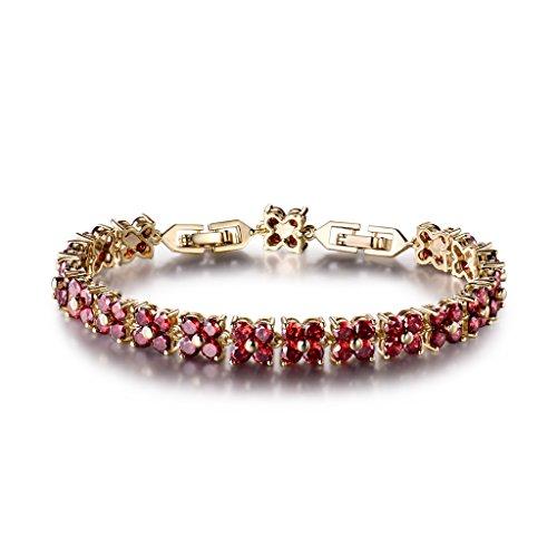 Gulicx, braccialetto da donna con cristalli Swarovski, in stile romano e ottone, colore: red, cod. L109b