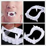 Partysanthe Halloween Vampire Dracula Teeth - White (Pack of 1) flexible plastic Halloween prop White teeth