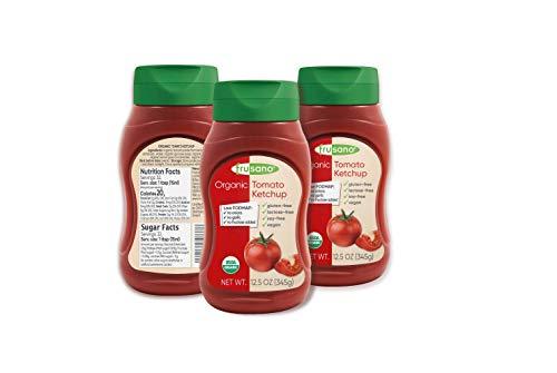 FRUSANO Set of 3 Organic Ketchup 10.1 fl oz   USDA Organic Real Flavor Taste Gluten & Lactose Free   Low FODMAP No Sugar or Added Fructose