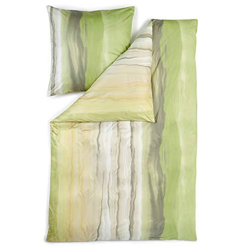 ESTELLA Bettwäsche Nika | Alge | 155x220 + 80x80 cm | bügelfreie Interlock-Jersey-Qualität | pflegeleicht und trocknerfest | ideale Vier-Jahreszeiten-Bettwäsche | 100% Baumwolle