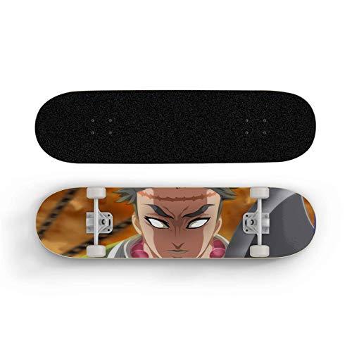 ZQHUAA Skateboard para Demon Slayer: Himijima Kyoumei, Doble inclinación de Cuatro Ruedas Scooter, monopatín para Principiantes, Deportes Extremos al Aire Libre Longboard, niño y Adolescente Regalo