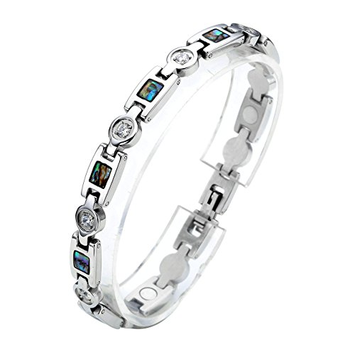 PiercingJ Damen Edelstahl Zirkonia Armband Magnetarmband Magnet Armband Armreif, Silber