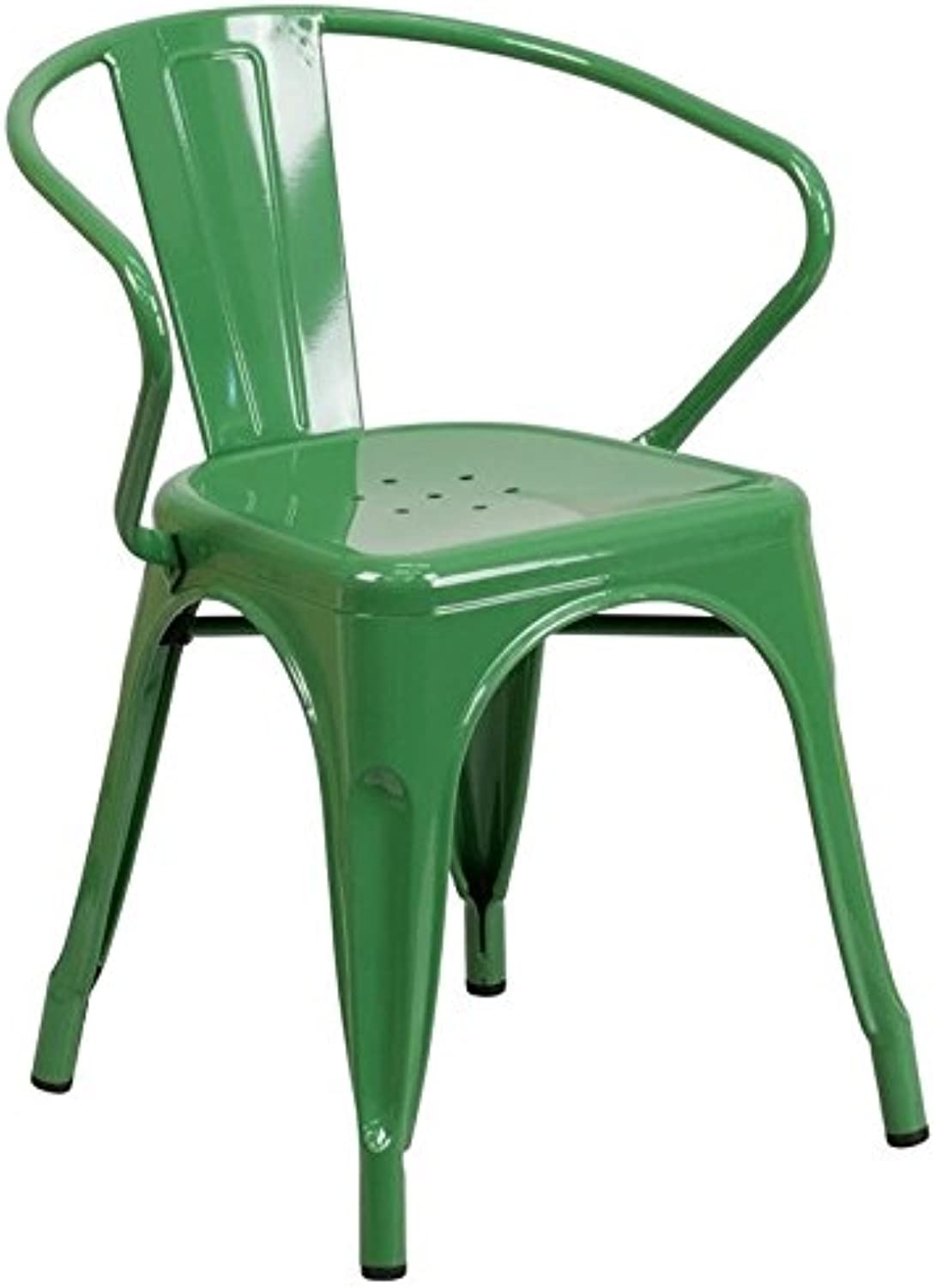 Bowery Hill Metal Dining Arm Chair in Green