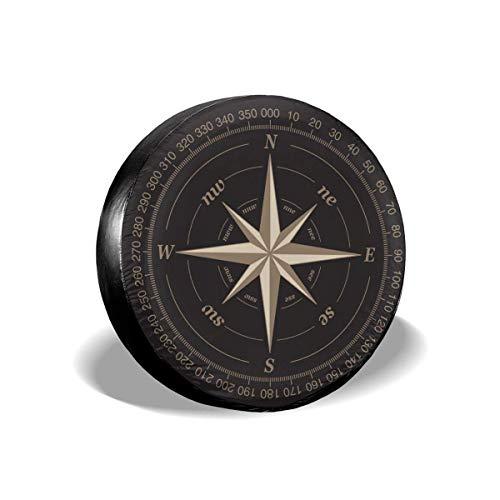 Y.Z.L. Funda para Neumáticos Cubierta para Rueda de Repuesto Protección Bolsa de Almacenamiento Rosa de los Vientos 14/15/16/17inch
