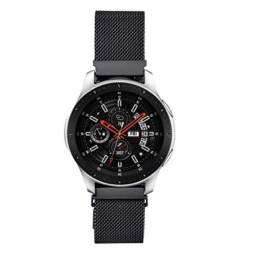 V-MORO Kompatibel mit Galaxy Watch 46mm Armband/Gear S3 Classic Frontier Armband,22mm Edelstahl Uhrenarmband für Bänder Kompatibel für Samsung Galaxy Watch 46mm(Black)