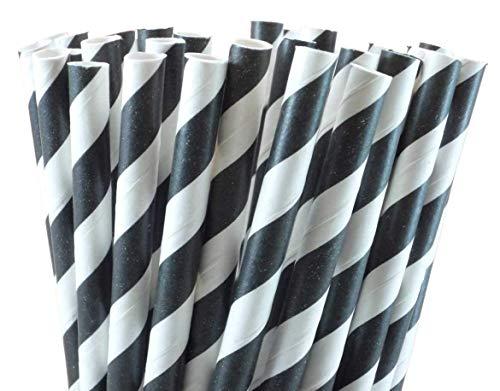 Schwarz-weiße Papiertrinkhalme, 6 mm x 200 mm, biologisch abbaubar, kompostierbar, umweltfreundlich, 250 Stück