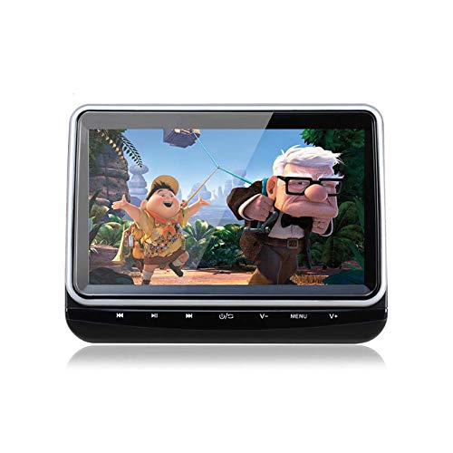Hahaiyu Auto-Kopfstützenmonitor - mit DVD-Player-Flip-LCD-Touchscreen, HDMI, USB, SD, FM/IR, AV-Eingang, AV-Ausgang, schwarz-silberner Rand, einfache Bedienung