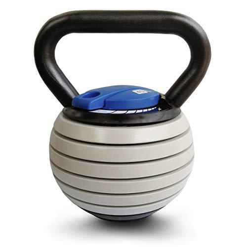 Sport-Thieme Kettlebell Set Vario | Verstellbare Kettlebell mit variablen Gewichtsscheiben: 4-18 kg | Platzsparend, Sicher | Stahl, Kunststoff | Schwarz-Grau-Blau | Markenqualität