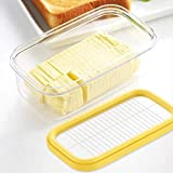 thorityau Boîte de Rangement de Beurre en Plastique avec Filet de Coupe Hermetic Butter Keeper Boîte de Rangement scellée pour récipient de Nourriture rectangulaire pour Garder au Frais 17x10x7cm