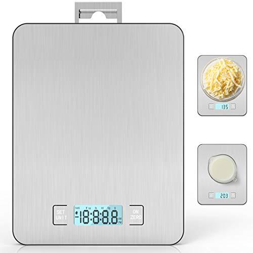 IAB Bilancia Cucina Digitale con Gancio, 15kg/ 33lb-1g Precisione Smart Bilancia da Cucina con Funzione Tare/timer, Bilance Multifunzione Elettronica Alimenti Elettronica, Display LCD, Peso Cucina