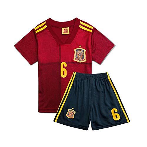 PAOFU-Camiseta y Pantalón Corto del Equipo de Fútbol de España 2020-2021,6# Andres Iniesta Fanáticos Camisetas de Fútbol para El Regalo del Festival Boy Girl
