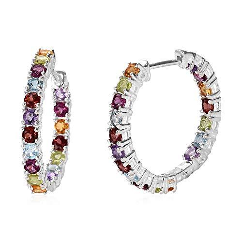TJC Women's 925 Sterling Silver Mozambique Garnet Hoop Earrings