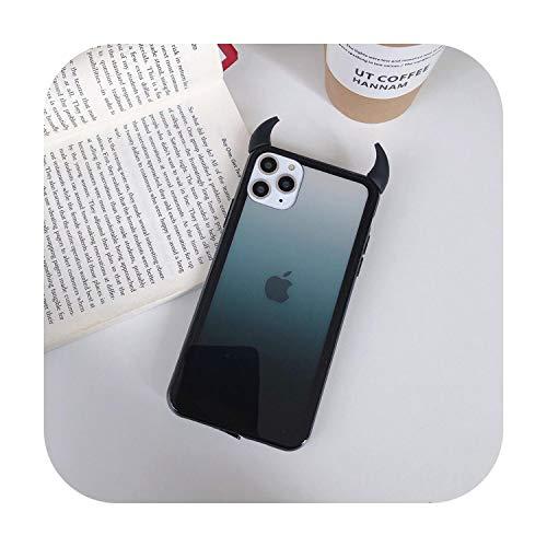 Funda para iPhone 11 Pro Max para iPhone XR XS Max Cute 3D Devil Horn Caso para iPhone 7 6S 8 Plus Mirror Candy Phone Cover