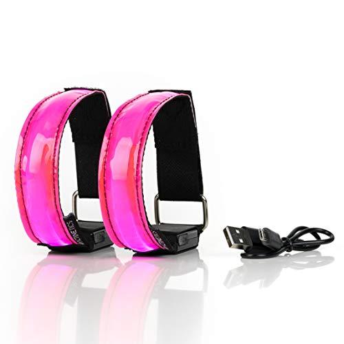 ACTINETICS Aufladbares LED Armband, Leuchtband für Joggen, Laufen – Sicherheitslicht, Reflektor und Blinklicht für Kinder – Blinkende und statische LED-Funktionen, USB aufladbar (4 Stück) (pink)